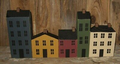 5 Wood Saltbox Houses*Primitive/French Country Home/Farmhouse Shelf Decor*NEW!