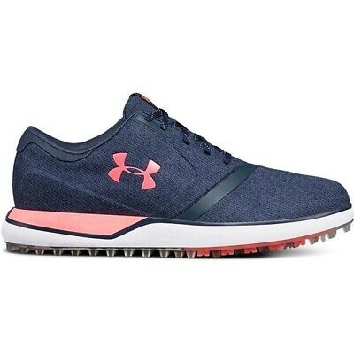 Womens Under Armour Performance SL Snbrla 3020112 400 Navy Pink Golf Shoes