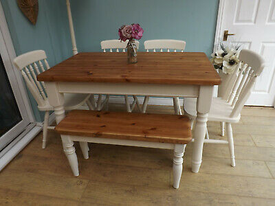 Rustic Solid Pine Farmhouse Kitchen Dining Table And Chairs