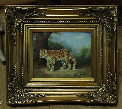 "Framed Exotic Cat Oil Painting Signed ""Lafayette"""