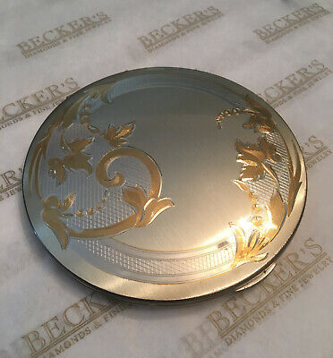 Vintage heavy sterling silver Elgin American Round Etched Compact Vanity Case
