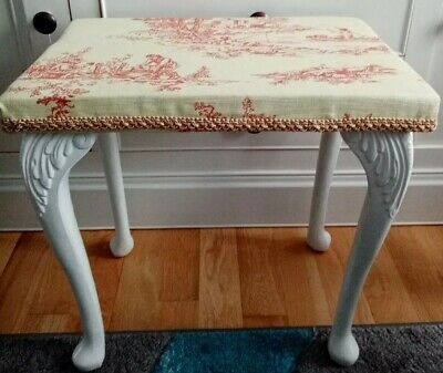 Vintage White Dressing Table Stool Queen Anne legs