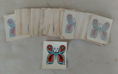VTG Butterfly Transfer Decal Tattoos Lot of 143 1960s 70s Hippie Flower Power