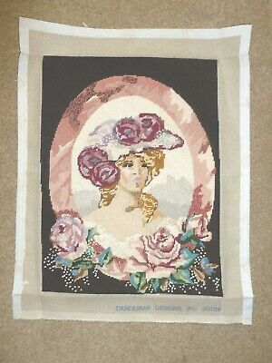 Stunning hand-stitched completed Needlepoint Tapestry Lady roses Candamar Design