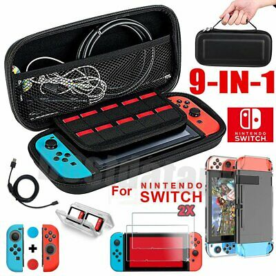 For Nintendo Switch 11-in-1 EVA Hard Carry Case Bag + HD Screen Protector Film