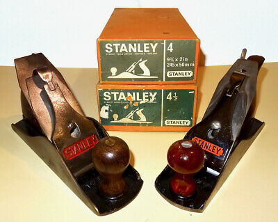 Pair Of Vintage Stanley Smoothing Planes, No.4 & No.4 1/2 - Boxes & Instructions