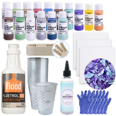 Acrylic Paint Pouring Bundle - Floetrol, Cups, 16x 2-Ounce Acrylic Paints, 3X