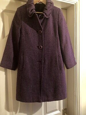 John Lewis Wool Mix Purple Spot Lined Age 7 Years Girls Coat