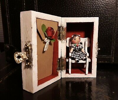 """Susie Cute - OOAK -Tiny 2"""" Detailed Jointed Doll and Chair in Decorated Wood Box"""