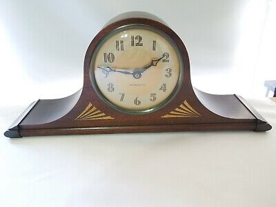 Antique Plymouth Wood Mantel Clock Art Deco Quartz Movement Made in USA