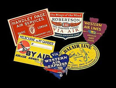 Airplane Travel Luggage Labels & Baggage Tags, 6 Steam Trunk Scrapbook Decals