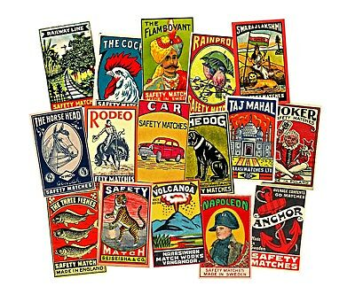 MATCH BOOK LABEL ADVERTISING, 16 Retro Stickers, 1 Sheet, Collage & Junk Journal