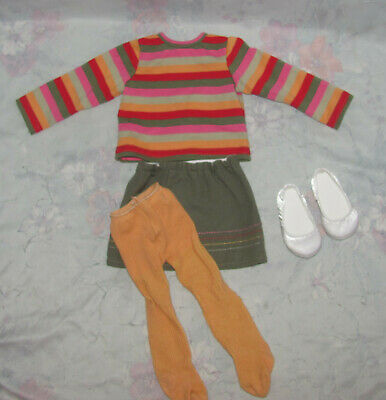 Maplelea Doll Outfit, Clothes - Striped Shirt, Green Skirt, Yellow Tights, Shoes