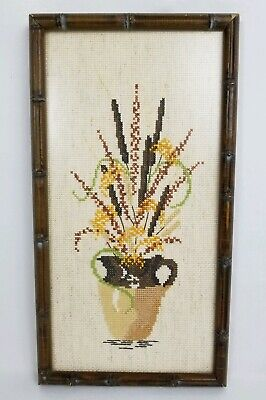 Vintage Faux Bamboo Framed Needlepoint Picture Flowers in Vase Handmade