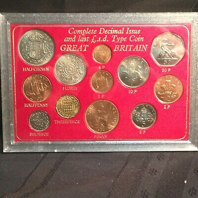 1967-1977 Great Britain Last Pound, Shilling, Pence and Decimal 12 Coin Set BU