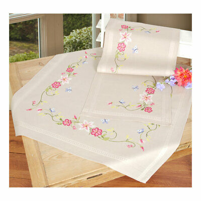 Embroidery Kit Tablecloth Apple Blossom Design Stitched on Cotton Fabric 80x80cm