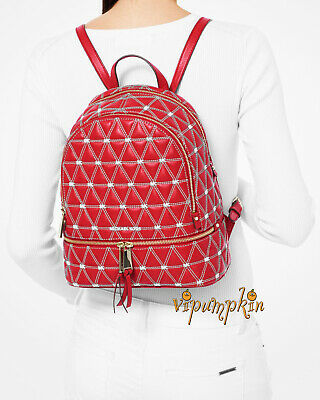 Michael Kors Rhea Medium Quilted Leather Backpack Bright Red