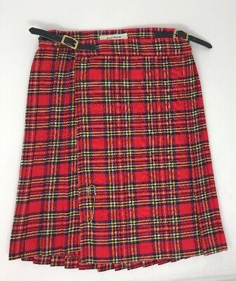 Vintage Royal Stuart Tartan Plaid Pleated Skirt Girls Size 6X Eaton CA