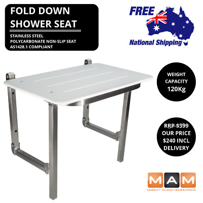 Shower Chair / Seat Fold Down Folding DISABLED WHEELCHAIR AGED CARE 600mm Wide