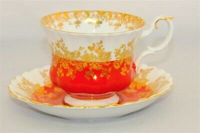 """1-Royal Albert Tea Cup & Saucer """"Regal Series"""" Bright Red ( 3 Available )"""