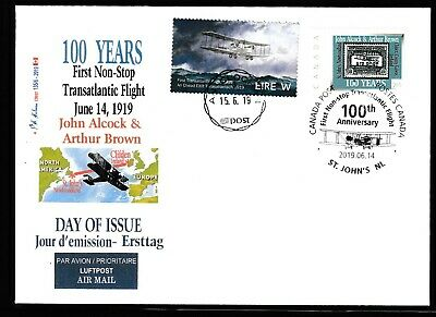 ALCOCK Transatlantic Flight  Anniv-$2.65- 4 cancel IRISH/CDN Picture Postage FDC