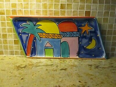 Canadian Artist Fiona Collins Ceramic Hand Painted Colorful Platter Plate