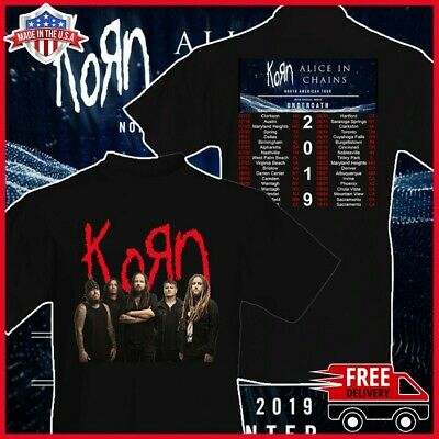 Korn t Shirt North American Tour 2019 T-Shirt 2 side Men Black Gildan Size S-6XL