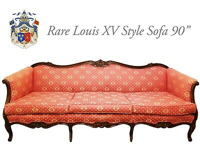 """Antique Carved Louis XV style Large Sofa Couch 90"""" / Rococco Victorian"""