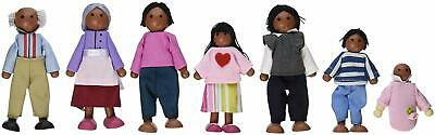 Doll House Family African American 7-pc Set Dollhouse Wooden Dolls Kids Play Toy