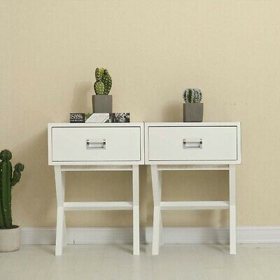 2X White Wooden Bedside Table with Drawer Storage Cabinet Nightstand Side / End