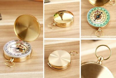 Portable Pocket Compass Vintage Brass Hiking Camping Watch Noctilucent Night NR7