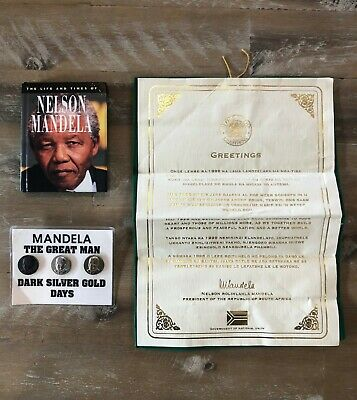 Nelson Mandela 1st South African President Government Letter, Book & Pins