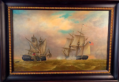 antique oil painting US Macedonia Engaging in Battle
