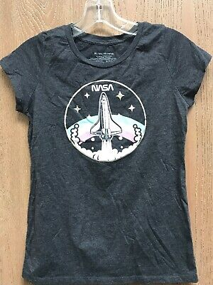 Nasa Girls Top T-shirt Size Youth XL Gray Mad Engine Girl Space Shuttle