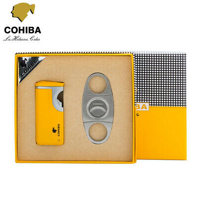 COHIBA 3 Torch Butane Jet Flame Cigarette Cigar Lighter  Punch +Cigar Cutter Set