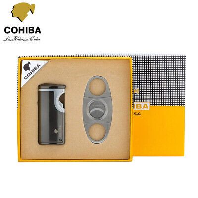 COHIBA Black 3 Torch Butane Jet Flame Punch Cigarette Cigar Lighter + Cutter Set