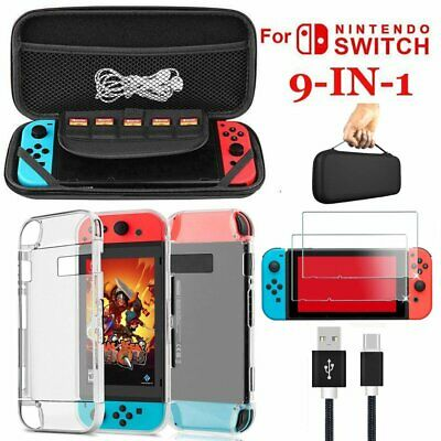 9 in 1 sets Accessories Kit For Nintendo Switch Bundle kit Carry Bag Case Glass