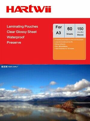 A3 Hot Laminating Pouches  Film 150 Micron(75x2) - 60 Sheets Hartwii 303x426mm