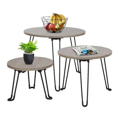 Nest of 3 Coffee Tables Round MDF Side End Tables Metal Legs Dark Brown