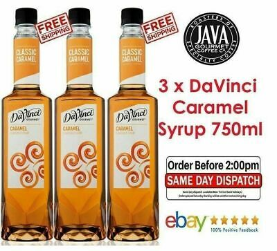 3 x DaVinci Caramel Flavoured Syrup 750ml Barista Cafe Frappe Coffee Desserts