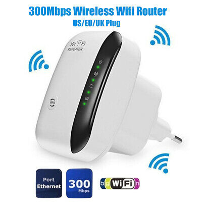300Mbps Wireless WiFi Router AP Repeater WLAN Extender UK Plug Socket