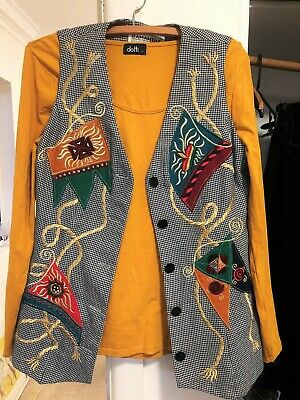Chic, Unique & Quirky! 90S Embellished Vest With Bonus New 'Dotti' Top. Sz 10.