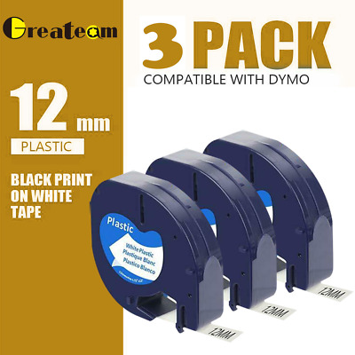 3 PACK LT 91331 Dymo Letratag Refill Compatible with Dymo Label Maker Tape 12mm