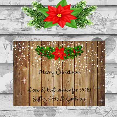 Personalised Christmas Cards x 10 Free Envelopes Family Friends Rustic 13