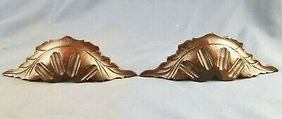 Antique Pair Walnut Carved Wooden Drawer Pull Handles