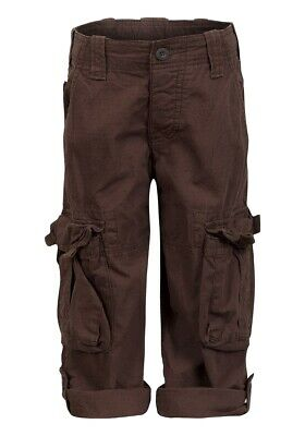 Boys Brown Cargo Roll Up Trousers - Ex Chainstore Ages 3-13 years