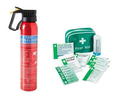 First Aid Kit & 600g Fire Extinguisher for Car Van Home Office Taxi Caravan Boat