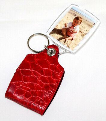Personalised Plastic Photo Keyring with Red Cover