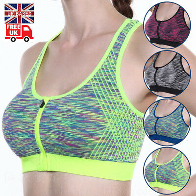Fashion Women Bra High Impact Front Zip Wireless Padded Cup Tank Tops Gym New