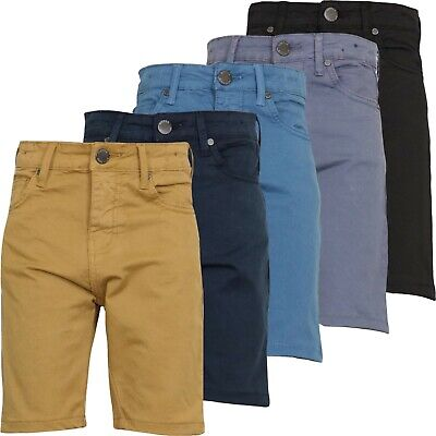 Boys Kids Chinos Shorts Stretch Children Denim Skinny Summer Age 9-15 Years New